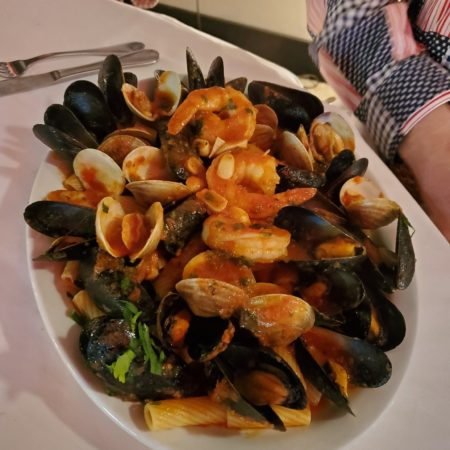 Zuppa di Pesce Shirmp Clams & Mussels over Linguini